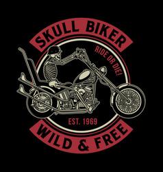 Vintage skull biker vector