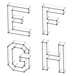 Wireframe font alphabet letters E F G H vector
