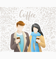 young people drinking coffee vector image
