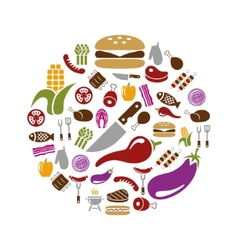 barbecue icons in circle vector image vector image