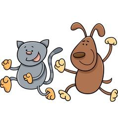 cat and dog playing tag cartoon vector image vector image
