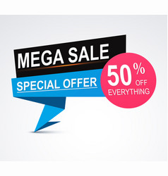 mega sale origami paper banner discount vector image vector image