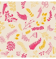 Seamless pattern vintage floral elements vector image