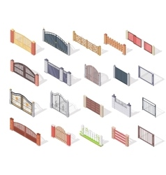 Set of Gates and Fences In Isometric Projection vector image