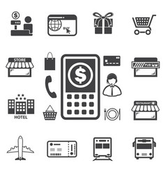 smart money and mobile banking icons set vector image