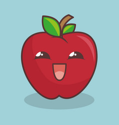 apple fruit character icon vector image