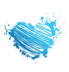 Blue grunge heart vector image vector image