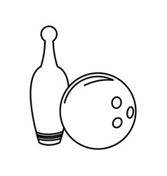 Bowling ball and pin game funny line vector