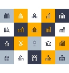Building icons Flat style vector image vector image