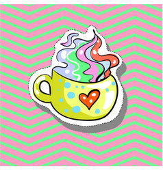 cup love with heart fashion patch badge pin vector image vector image