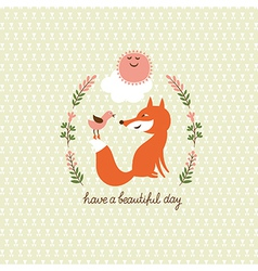 cute fox and bird vector image vector image