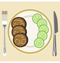 Eggplant on a plate vector image vector image