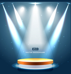 gold stage with spotlight and star on blue vector image vector image