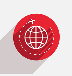 modern tourism red circle icon vector image vector image