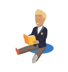 Young Blonde Haired Happy Student Enjoying Reading vector image vector image