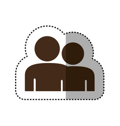 Brown people together contact icon vector