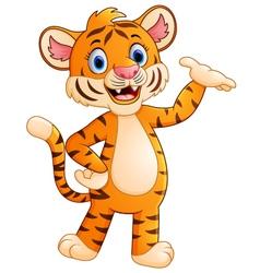 Cute tiger waving hand vector image vector image
