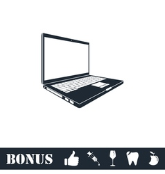 Laptop icon flat vector image vector image