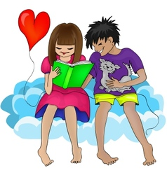 Man Woman and Book vector image