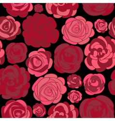 pattern with red roses on black vector image vector image