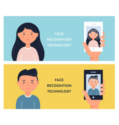 people faces and smartphone screens face vector image vector image