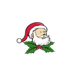 Santa Claus Father Head Christmas Holly Cartoon vector image vector image