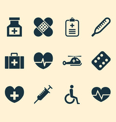 antibiotic icons set collection of drug analyzes vector image