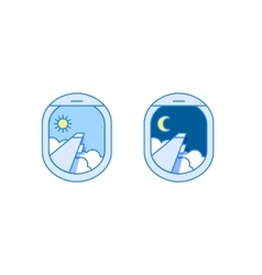 day and night airplane window views vector image vector image