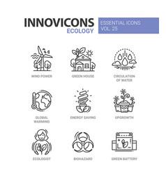ecology - modern color single line icon set vector image