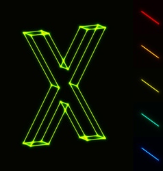 EPS10 glowing wireframe letter X - easy to change vector image vector image