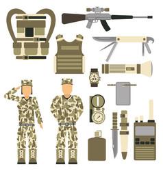 military character weapon guns symbols armor man vector image vector image