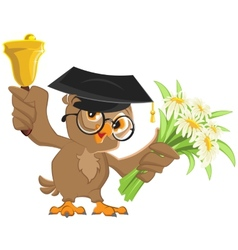 Owl teacher rings the bell and holding flowers vector image vector image