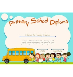 Primary school diploma with schoolbus and kids vector