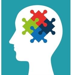 silhouette head puzzle creativity icon vector image