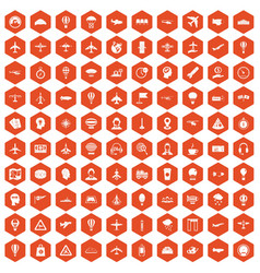 100 aviation icons hexagon orange vector