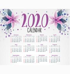 2020 flower calendar design template vector