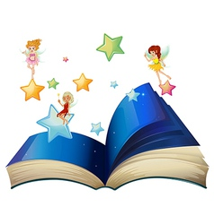 A book with three floating fairies vector