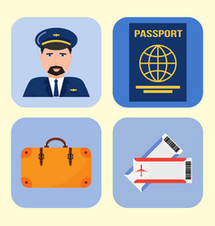 aviation icons set airline graphic symbols vector image