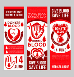 banners for blood donation donors vector image