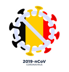 belgium flag sign caution coronavirus stop vector image