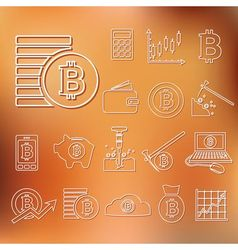bitcoin outline icons vector image