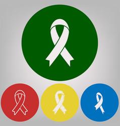 Black awareness ribbon sign 4 white vector