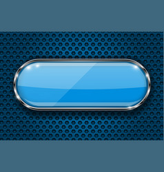 Blue button on perforated background oval glass vector