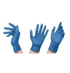 Blue nitrile medical gloves on hands vector