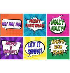 bright colorful christmas retro speech bubbles set vector image