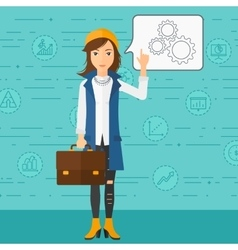 Business woman pointing at cogwheels vector image