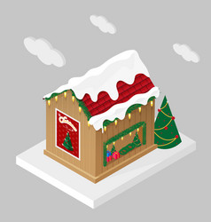Christmas market stall in isometric view vector