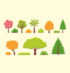 collection of trees and bushes in vector image