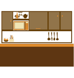 color silhouette of kitchen with top cabinets vector image vector image