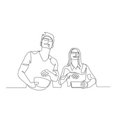 continuous one line couple watching a movie vector image